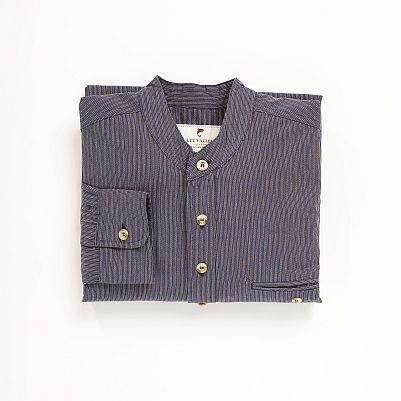 Irsk bomulds skjorte i mørk blå med lyse striber
