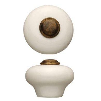 Hvid porcelænsknop med indlæg