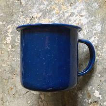 Emaljekrus i blå emalje med sort rand