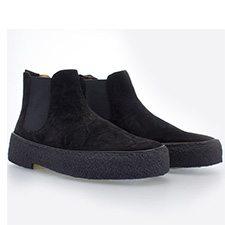 Playboy Chelsea boots til damer, sort ruskind med karakteristisk rågummiså