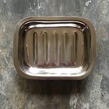 Sæbeskål rektangulær i blank aluminium