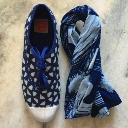 Ben Simon sko i indigo med trekant mønster