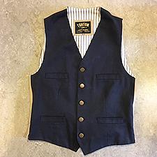 Mørkeblå kanvas herrevest med beige ryg og stribet for